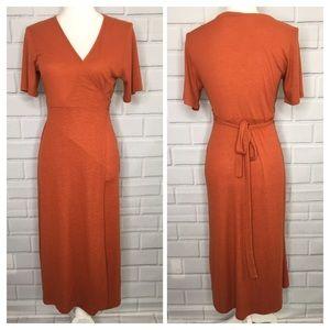 Double Zero Rust Orange Wrap Maxi Dress (M)